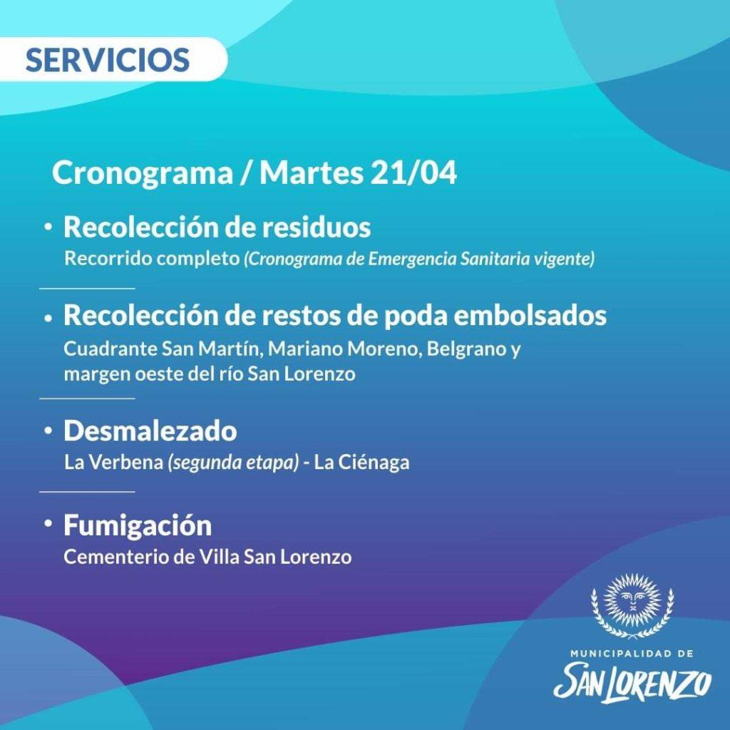 San Lorenzo: Servicios para hoy