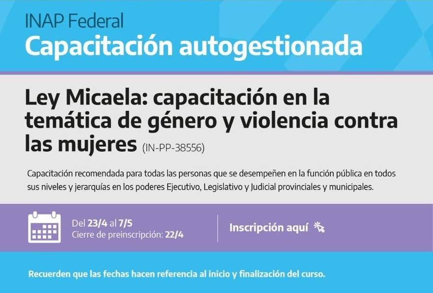 Ley Micaela: empleados municipales podrán capacitarse desde sus casas