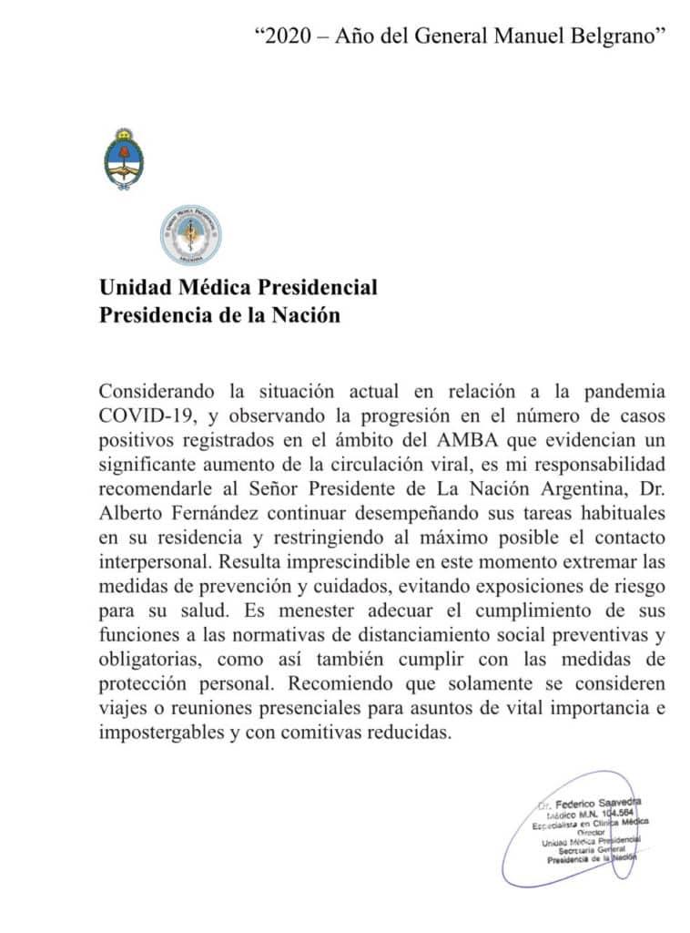 Recomendación al Presidente: no salga de la Quinta de Olivos