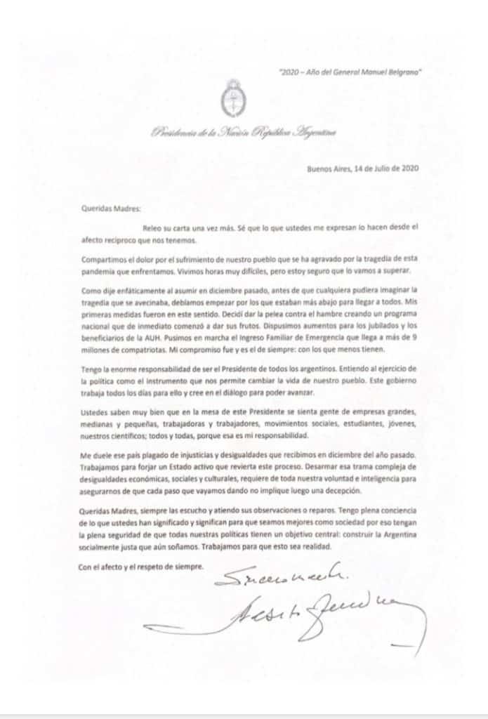 Carta en respuesta a la Asociación Madres de Plaza de Mayo