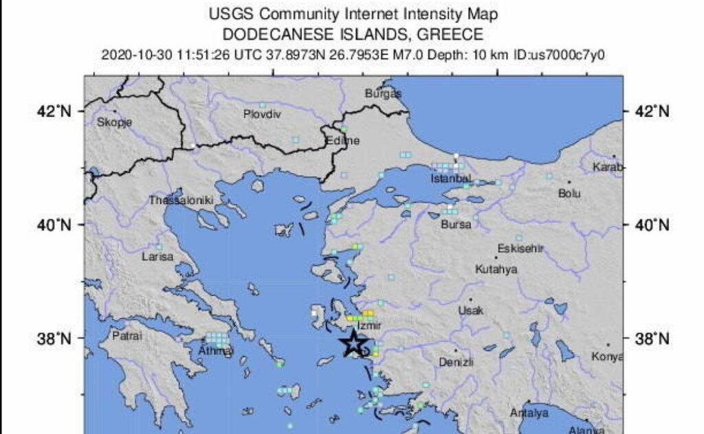 Fuerte terremoto en el Mar Egeo