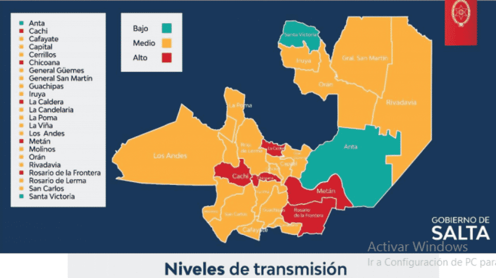 Mapa actualizado de riesgo sanitario en Salta