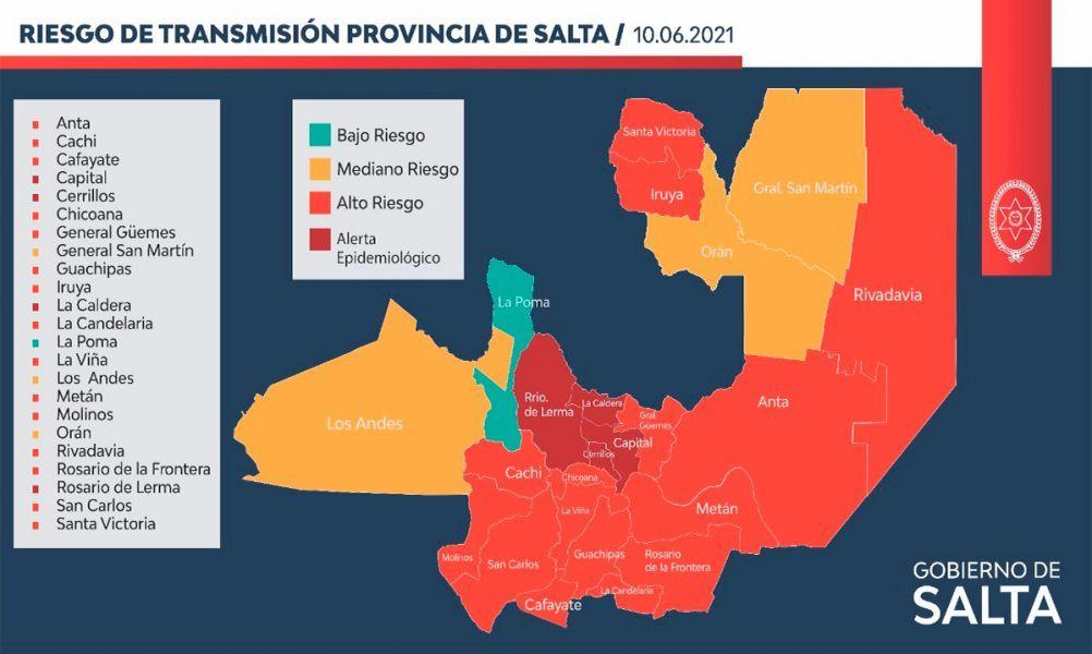 Situación epidemiológica y con alto riesgo en departamentos de Salta